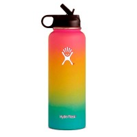 Hydro flask bottle pink yellow green Hawaiian rainbow vsco